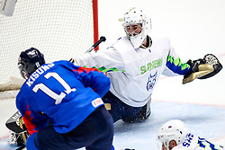 Kisung Kim of South Korea vs Matija Pintaric of Slovenia during ice hockey match between South Korea and Slovenia at IIHF World Championship DIV. I Group A Kazakhstan 2019, on April 30, 2019 in Barys Arena, Nur-Sultan, Kazakhstan. Photo by Matic Klansek Velej / Sportida