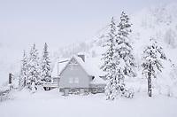 Heather Meadows Visitor's Center in winter, North Cascades Washington