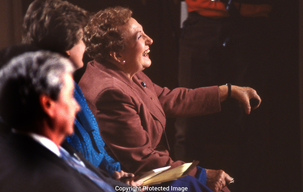 Sarah McClendon  White House reporter at a presidential press conference<br />Photograph ny Dennis Brack. bb78