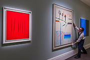 LUCIO FONTANA, CONCETTO SPAZIALE, ATTESE <br /> Estimate £2,000,000-3,000,000 and DAVID HOCKNEY, DIFFERENT KINDS OF WATER POURING INTO A SWIMMING POOL, SANTA MONICA, Estimate £ 6,000,000-8,000,000 - Highlights From London's Flagship Sales of Impressionist, Modern, Surrealist & Contemporary Art at Sotheby's London.