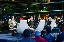 "14.05.2012, Hangar 7, Salzburg, AUT, Sport und Talk, Live aus dem Hangar 7, im Bild Christian Horner (GBR, Teamchef Red Bull Racing), Mark Webber (AUS, Red Bull Racing), Andi Groebl (Servus TV Moderator), Jacques Schulz (GER, Sky Moderator), Sebastian Vettel (GER, Red Bull Racing) und Niki Lauda (AUT, dreimaliger Formel 1 Weltmeister) // during the Servus TV show ""Sport and Talk live at the Hangar 7, Salzburg, Austria on 2012/05/14, EXPA Pictures © 2012, PhotoCredit: EXPA/ Juergen Feichter"