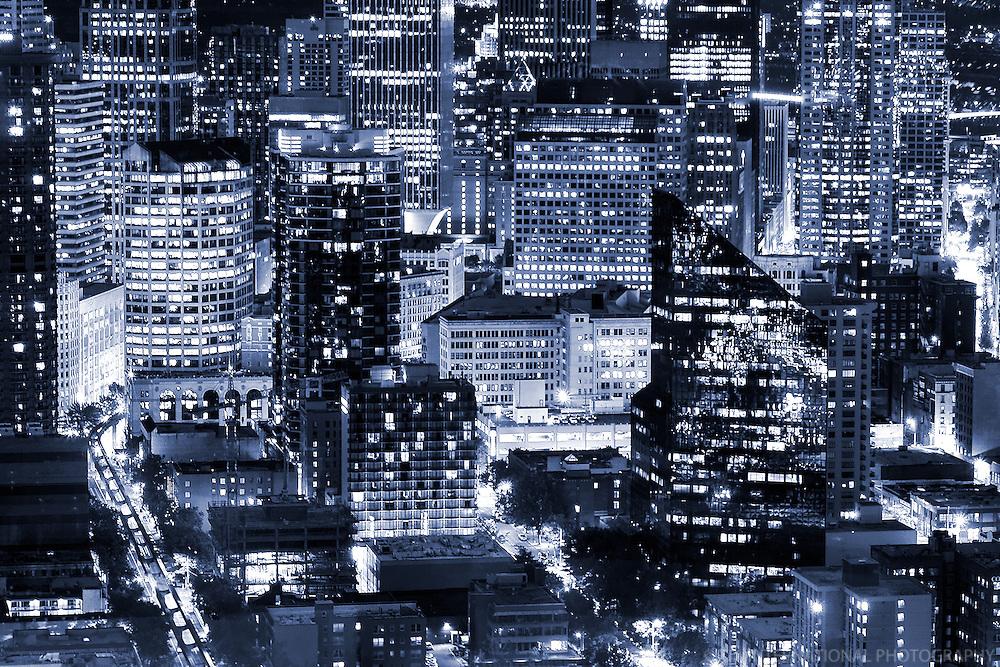 Close-up of Seattle Cityscape (monochrome)