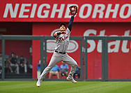 Detroit Tigers shortstop Jose Iglesias (1) leaps to catch a line drive off the bat of Kansas City Royals first baseman Hunter Dozier (not pictured) during the eighth inning at Kauffman Stadium.