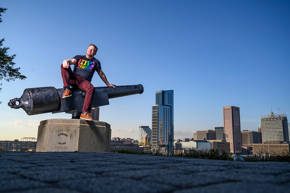 Baltimore, Maryland - October 21, 2020: AIDS and HIV activist and writer Mark S. King, is selected as one of Out Magazine's 2020 Out100. He's photographed in Baltimore's Inner Harbor Wednesday October 21, 2020.<br /> <br /> Photo by Matt Roth