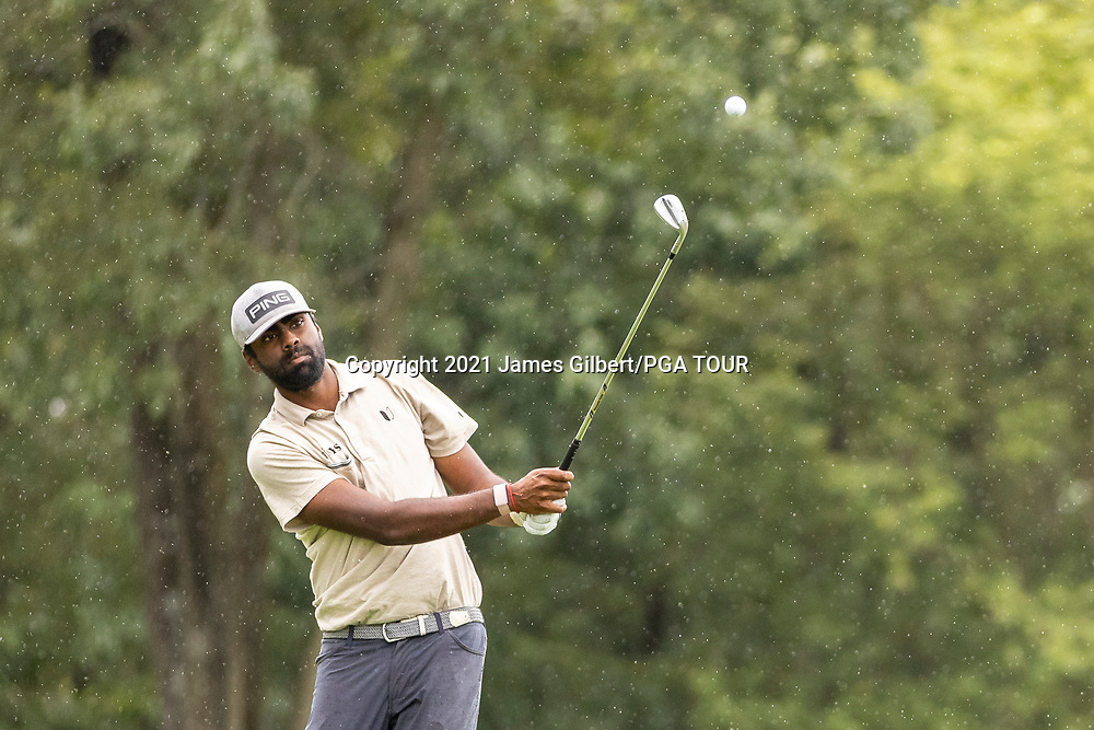 NEWBURGH, IN - SEPTEMBER 04: Sahith Theegala plays his shot from the 12th hole during the third round of the Korn Ferry Tour Championship presented by United Leasing and Financing at Victoria National Golf Club on September 4, 2021 in Newburgh, Indiana. (Photo by James Gilbert/PGA TOUR via Getty Images)
