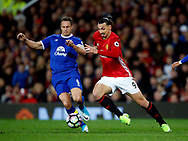Phil Jagielka of Everton in action with Zlatan Ibrahimovic of Manchester United during the English Premier League match at Old Trafford Stadium, Manchester. Picture date: April 4th 2017. Pic credit should read: Simon Bellis/Sportimage
