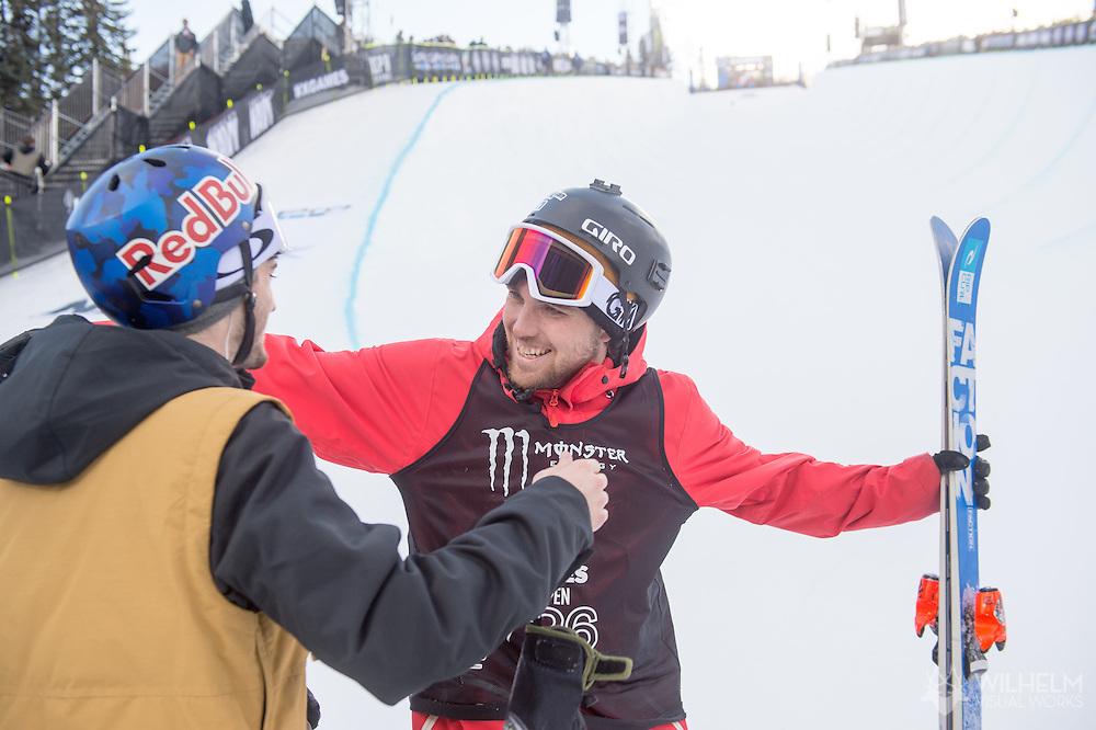 Simon d'Artois during Ski Superpipe Finals during 2015 X Games Aspen at Buttermilk Mountain in Aspen, CO. ©Joshua Duplechian/ESPN