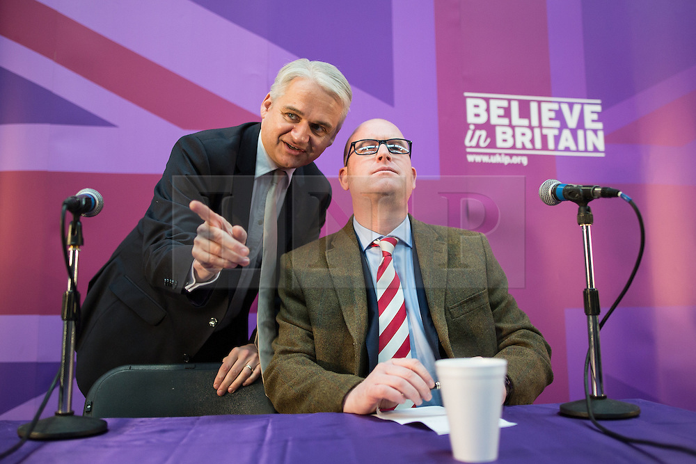 © Licensed to London News Pictures . 23/03/2015 . Middleton , UK . Patrick O'Flynn and Paul Nuttall talk ahead of the speech . UKIP leader Nigel Farage , Deputy Leader Paul Nuttall and Economics Spokesman Patrick O'Flynn announce UKIP's economic policy at Concept Metal Products and Co Ltd in Middleton , Lancashire . Photo credit : Joel Goodman/LNP