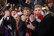 Sunderland fans celebrate after the final whistle. Barclays Premier league match, Crystal Palace v Sunderland at Selhurst Park in London on Monday 23rd November 2015.<br /> pic by John Patrick Fletcher, Andrew Orchard sports photography.