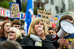 Pictured: Alison Johnstone, Greens MSP<br /> Thousands of people gathered outside the Scottish Parliament to demonstrate for Scotland to remain part of EU. Young and old gathered in support of the European Movement Edinburgh  whoorganised the event inthe wake of the vote to leave<br /> <br /> <br /> Ger Harley | EEm 29 June 2016
