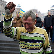 KIEV, UKRAINE - February 22, 2014: A man reacts during a funeral procession of anti-government protestors killed two days ago during clashes with riot police in central Kiev. CREDIT: Paulo Nunes dos Santos