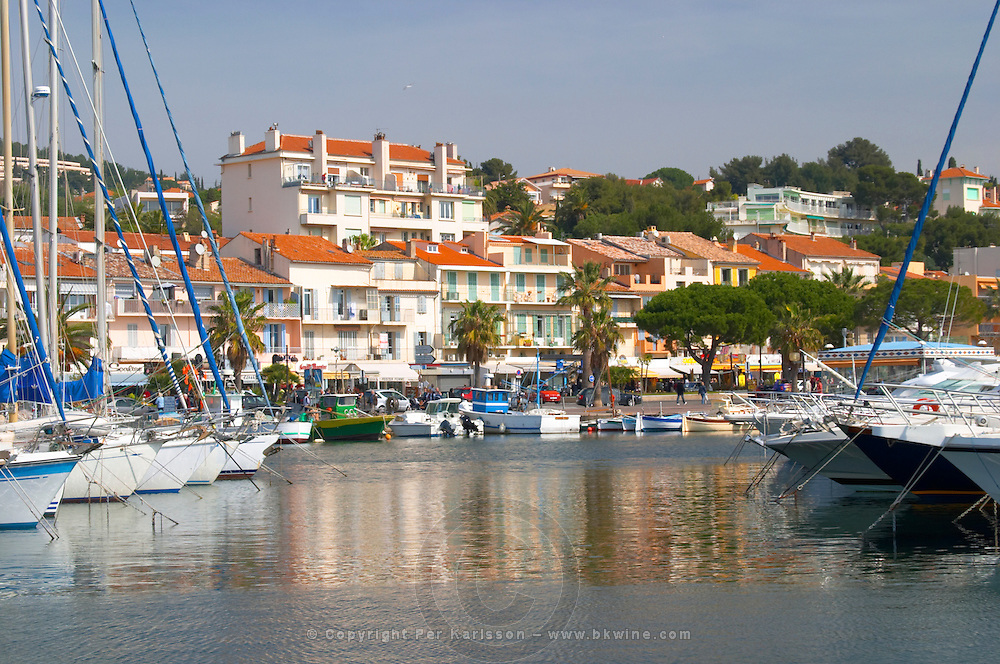 The harbour with boats and buildings along the water in Bandol. Bandol Cote d'Azur Var France