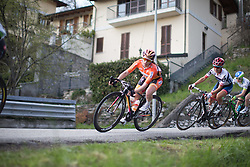 Karol-Ann Canuel (Boels-Dolmans Cycling Team) leans into the corner in the third, short lap of the Trofeo Alfredo Binda - a 123.3km road race from Gavirate to Cittiglio on March 20, 2016 in Varese, Italy.