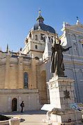 Pope John Paul statue, Catedral de Nuestra Señora de la Almudena, cathedral church, Madrid, Spain