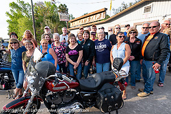 An annual meet-up of riders from Illinois at Betty's Smiley's Tap in Ormond Beach during Daytona Beach Bike Week, FL. USA. Wednesday, March 13, 2019. Photography ©2019 Michael Lichter.