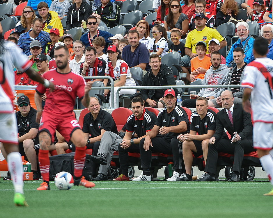 July 10, 2015: Fury coaching staff watch on from the touchline during the NASL match between the Ottawa Fury FC and Rayo OKC at TD Place Stadium in Ottawa, ON. Canada on July 10, 2016. The Fury starting the fall season with a 1-0 loss.<br /> <br /> PHOTO: Steve Kingsman/Freestyle Photography