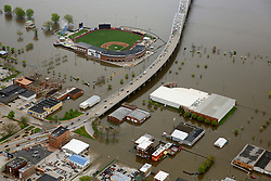 May 3, 2019 - Davenport, Iowa, U.S. - Aerial of Davenport, Iowa showing Modern Woodmen Park and the surrounding area covered by Mississippi River floodwaters Friday. (Credit Image: © Kevin E. Schmidt/Quad-City Times via ZUMA Wire)