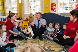 Pictured: Willie Rennie joined in the singing circle at the New Town Nursery<br /> <br /> Scottish Liberal Democrat leader Willie Rennie marked the first full day of campaigning for the Scottish Election by visiting  the New Town Nursery in Edinburgh. He was joined by Edinburgh Western candidate Alex Cole-Hamilton as the children were enjoying a lively morning<br /> <br /> Ger Harley | EEm 23 March 2016