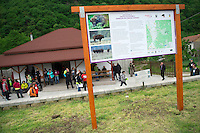Outside the Armenis Bison Centre, Release of European bison, Bison bonasus, in the Tarcu mountains nature reserve, Natura 2000 area, Southern Carpathians, Romania. The release was actioned by Rewilding Europe and WWF Romania in May 2014.