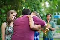 Jake and Amelya's backyard reception.   ©2104 Karen Bobotas Photographer