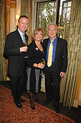 Left to right, writer CHRISTOPHER LUSCOMBE, ELAINE PAIGE and actor NICKOLAS GRACE at a tribute lunch for Elaine Paige hosted by the Lady Taverners at The Dorchester, Park Lane, London on 13th November 2007.<br />