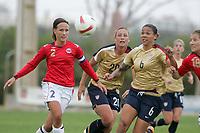 20080310: ALVOR, PORTUGAL – USA vs Norway during XV Algarve Women 's Football Cup. In picture: Ane S. Horpestad (NOR) and Natasha Kai (USA). PHOTO: CITYFILES