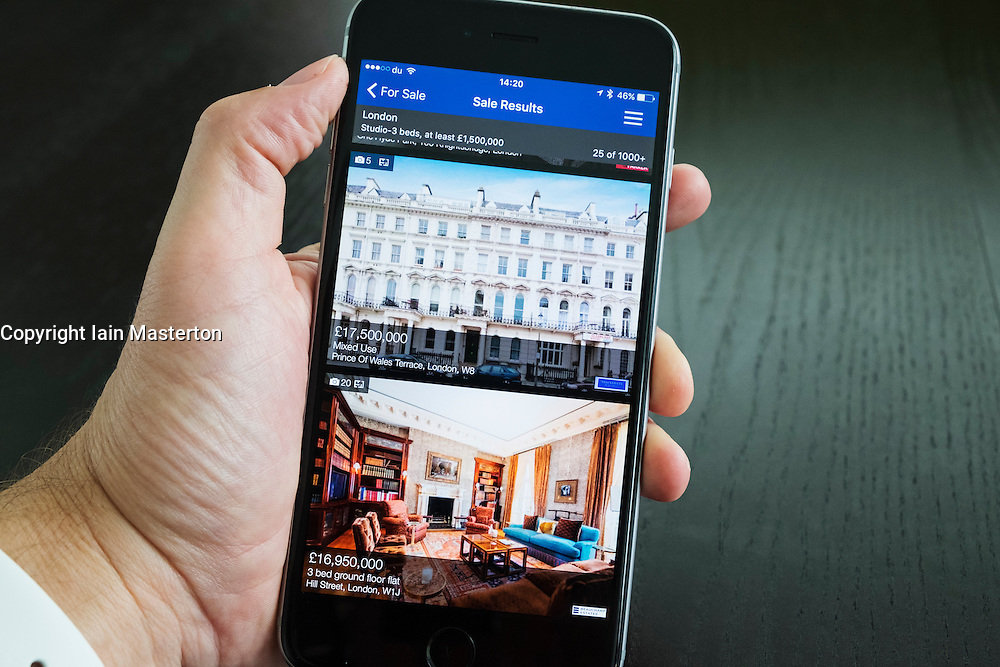 Luxury London homes for sale on Rightmove online property search app on iPhone 6 plus smart phone
