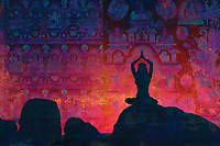 Buddhessa on yogini meditation on abstract boulders. She is becoming one with the sacred OM of all things past and all things future.