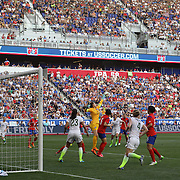 Korean Republic goalkeepr Jung-mi Kim punches a corner clear during the U.S. Women's National Team Vs Korean Republic, International Soccer Friendly in preparation for the FIFA Women's World Cup Canada 2015. Red Bull Arena, Harrison, New Jersey. USA. 30th May 2015. Photo Tim Clayton