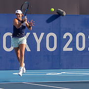 TOKYO, JAPAN - JULY 20: Garbine Muguruza of Spain practicing at Ariake Tennis Park in preparation for the Tokyo 2020 Olympic Games on July 20, 2021 in Tokyo, Japan. (Photo by Tim Clayton/Corbis via Getty Images)