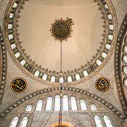 The interior of the Nuruosmaniye Mosque, ornately decorated in Ottomon-Baroque style. Nuruosmaniye Mosque, standing next to Istanbul's Grand Bazaar, was completed in 1755 and was the first and largest mosque to be built in Ottoman Baroque style.