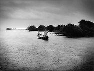 Young man paddles a canoe from the open waters of Tonle Sap to the vast flooded wetlands in a downpour, Cambodia.