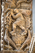 13th century Medieval Romanesque Sculptures from the introdos of the second arch of the facade of St Mark's Basilica, Venice, depicting January from the Months of the Zodiac .