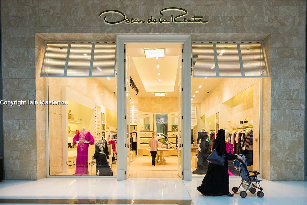 view of Oscar de la Renta fashion boutique inside Dubai Mall in United Arab Emirates