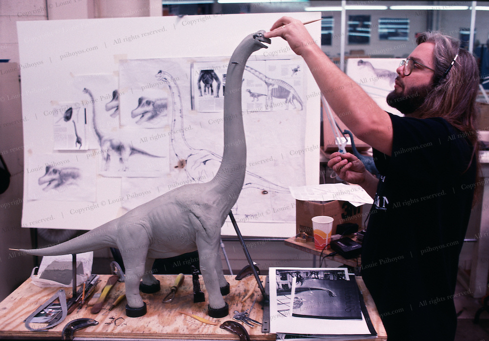 At Stan Winston Studios outside L.A. in Van Nuys, CA., the dinosaurs, like this Brachiosaurus for Steven Spielberg's action epic, Jurassic Park were created.  Stan is one of Hollywoods most innovative character creators.