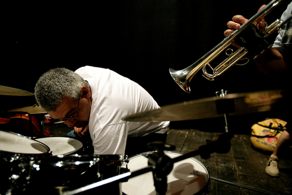 """Members od the JACC workshop orchestra rehearsing. """"Jazz ao Centro"""" jazz festival is held twice a year in portuguese town of Coimbra."""