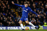 Marcus Alonso of Chelsea takes a free kick at goal. Premier League match, Chelsea v Leicester City at Stamford Bridge in London on Saturday 13th January 2018.<br /> pic by Steffan Bowen, Andrew Orchard sports photography.