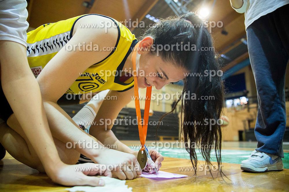 Marica Gajic of Athlete Celje with fans after winning during basketball match between ZKK Athlete Celje and ZKK Triglav in Finals of 1. SKL for Women 2014/15, on April 20, 2015 in Gimnazija Celje Center, Celje, Slovenia. ZKK Athlete Celje became Slovenian National Champion 2015. Photo by Vid Ponikvar / Sportida
