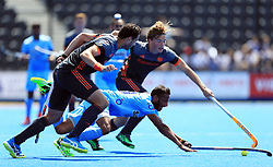 India's Sunil Sowmarpet in action against Netherlands' during the Men's World Hockey League match at Lee Valley Hockey Centre, London.