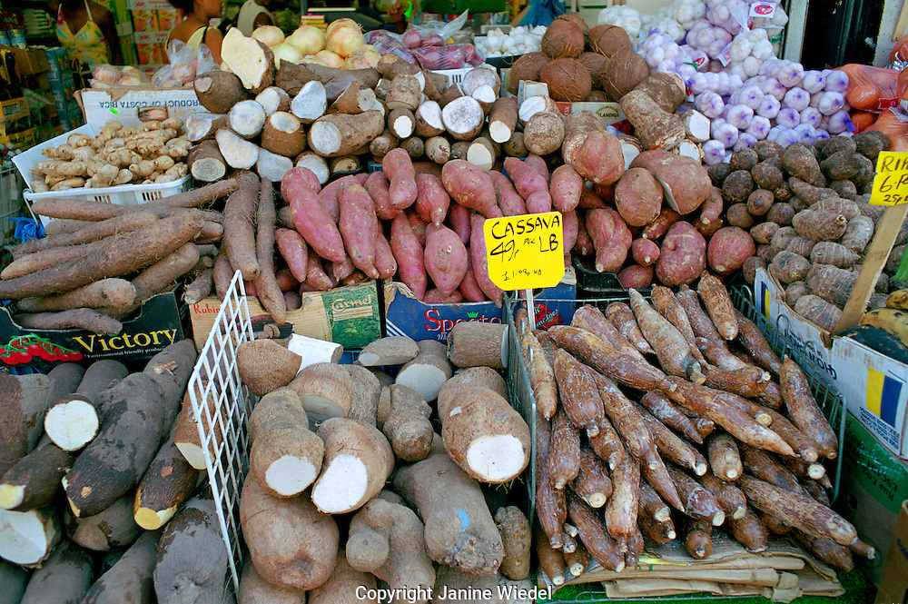 Brixton market Electric Lane South London has a wide range of Caribbean ethnic and unusual fruit and vegetables.