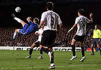 Photo: Paul Thomas.<br /> Chelsea v Valencia. UEFA Champions League. Quarter Final, 1st Leg. 04/04/2007.<br /> <br /> Andriy Shevchenko (L) of Chelsea has this over-head shot at goal cleared off the line.