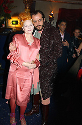 Top British fashion designer VIVIENNE WESTWOOD and her husband MR ANDREAS KRONTHALER at a party and fashion show by Agent Provocateur at the Cafe de Paris, Coventry Street, London W1 on 14th February 2005.<br /><br />NON EXCLUSIVE - WORLD RIGHTS