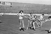 A group of players all raise their hurls high hoping to hit the slitor during the All Ireland Senior Camogie Final Cork v Wexford in Croke Park on the 21st September 1975. Wexford 4-3 Cork 1-2.