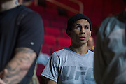 HOUSTON, TX - OCTOBER 2:  Joseph Benavidez waits backstage before the UFC 192 weigh-in at the Toyota Center on October 2, 2015 in Houston, Texas. (Photo by Cooper Neill/Zuffa LLC/Zuffa LLC via Getty Images) *** Local Caption *** Joseph Benavidez