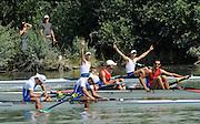 Ottensheim, AUSTRIA.  A  Final,  LM2-,  GRE LM2- celebrate, BowNikolaos GKOUNTOULAS and Apostolas GKOUNTOULAS, at the 2008 FISA Senior and Junior Rowing Championships,  Linz/Ottensheim. Sunday,  27/07/2008.  [Mandatory Credit: Peter SPURRIER, Intersport Images] Rowing Course: Linz/ Ottensheim, Austria