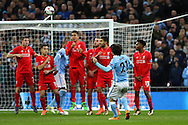David Silva of Manchester City sees his free kick go high of the crossbar. Capital One Cup Final, Liverpool v Manchester City at Wembley stadium in London, England on Sunday 28th Feb 2016. pic by Chris Stading, Andrew Orchard sports photography.
