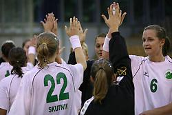 Players of Olimpija after  handball game between women team RK Olimpija vs ZRK Brezice at 1st round of National Championship, on September 13, 2008, in Arena Tivoli, Ljubljana, Slovenija. Olimpija won 41:17. (Photo by Vid Ponikvar / Sportal Images)