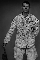 Lcpl. Pedro Garcia, 20, Crystal City, Texas, Weapons Platoon, Kilo Co., 3rd Battalion 1st Marines, United States Marine Corps, at the company's firm base in Haditha, Iraq on Sunday Oct. 22, 2005.