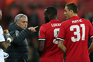Jose Mourinho, the Manchester Utd manager points as he sends on replacements Romelu Lukaku and Nemanja Matic of Manchester Utd.   EFL Carabao Cup 4th round match, Swansea city v Manchester Utd at the Liberty Stadium in Swansea, South Wales on Tuesday 24th October 2017.<br /> pic by  Andrew Orchard, Andrew Orchard sports photography.