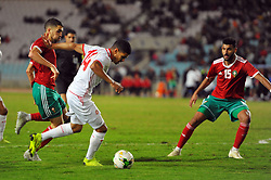 November 20, 2018 - Tunis, Tunisia - Youssef Ben Nasser (15)Moroccan players and Mohamed Draguer(14) during friendly Match between Tunisia and Morocco already qualified for the African Continental Tournament at the Olympic Stadium in Rades. (Credit Image: © Chokri Mahjoub/ZUMA Wire)